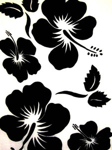 White Sarong with Large Black Hibiscus Prints