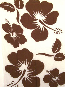 White Sarong with Large Brown Hibiscus Prints