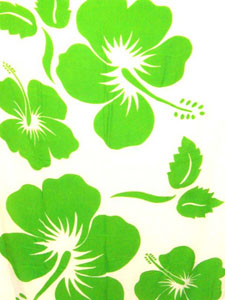 White Sarong with Large Green Hibiscus Prints
