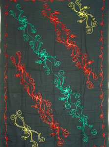 Reggae Sarong - Solid Black with Red, Gold, Green Embriodery
