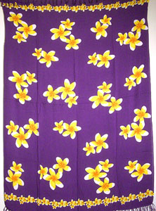 Purple Sarong with Yellow Plumeria