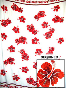 Sequined White Sarong with Red Flowers