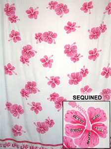 Sequined White Sarong with Pink Flowers
