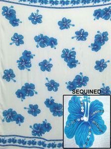 Sequined Light Blue Sarong with Blue Flowers