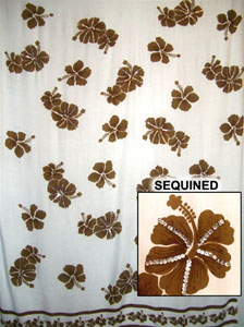 Sequined White Sarong with Brown Flowers