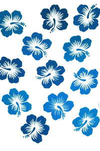 Twelve Hibiscus White Sarong with Blue Flowers