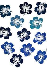Twelve Hibiscus White Sarong with Black and Blue Flowers