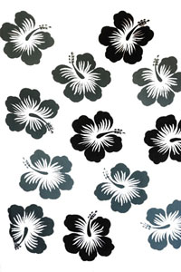 Twelve Hibiscus White Sarong with Gray Flowers