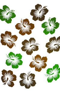 Twelve Hibiscus White Sarong with Green and Brown Flowers