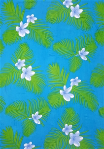 Blue with Green Palm Leaves and Blue Plumeria Flowers