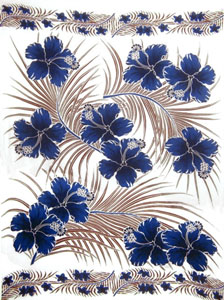 White Sarong with Brown Palm Leaves and Blue Hibiscus Flowers