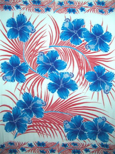 Light Blue Sarong with Red Palm Leaves and Blue Hibiscus Flowers