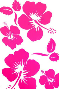 White Sarong with Large Hot Pink Hibiscus Prints