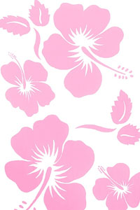 White Sarong with Large Light Pink Hibiscus Prints