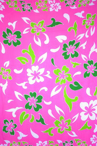 Pink Sarong with Green and White Flower Pattern