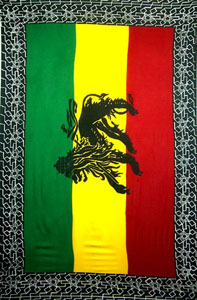 Rasta Sarong - Red Gold Green With Lion and White Design Border