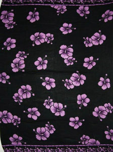 Black Sarong with Purple Hibiscus Flowers.