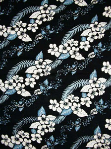 Black with Hawaiian Print & Blue Leaves