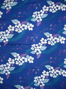 Blue Sarong with Hawaiian Print & Blue Leaves