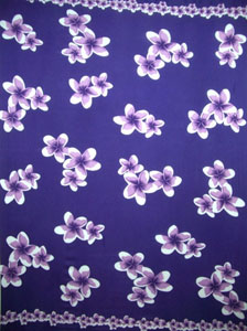 Purple Sarong with Purple Plumeria Flowers