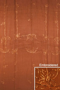 Embroidered Solid Brown Sarong