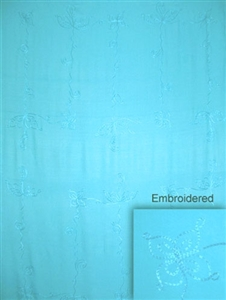 Embroidered Solid Turquoise Sarong