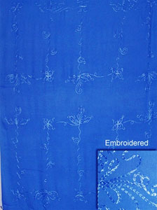 Embroidered Solid Blue Sarong