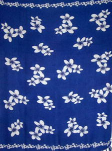 Blue Sarong With White Plumerias