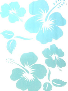 Light Blue Large Hibiscus Sarong