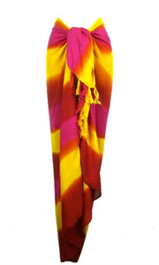Striped Sarong In Yellow and Reds
