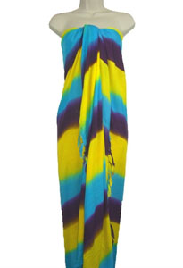 Striped Sarong In Blue, Yellow and Purple