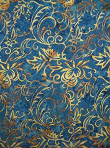 Fancy Blue Sarong with Gold Leaf Pattern