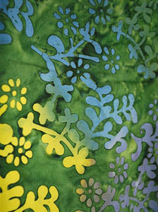 Fancy Green Sarong with Tri-Colored Plant Pattern