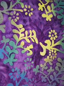 Fancy Purple Sarong with Tri-Colored Plant Pattern