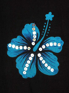 Black Sequined With Blue Hibiscus Flowers