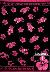 Black Sequined Sarong With Pink Hibiscus Flowers