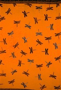 Orange Sequined Sarong with Dragonflies