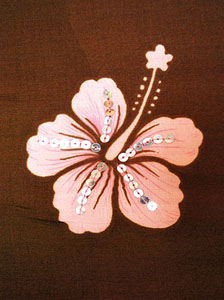 Brown Sequined Sarong With Pink Hibiscus Flowers