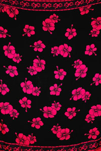 Black Sarong With Pink Hibiscus