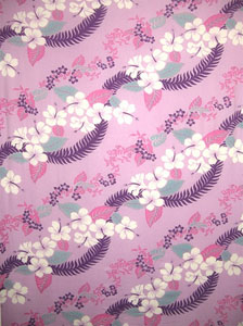 Purple Sarong with Hawaiian Print and Purple Leaves
