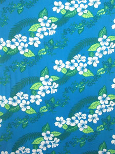 Light Blue Sarong with Hawaiian Print and Green Leaves