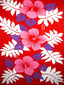Three Pink Hibiscus Flowers Red Sarong