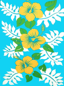 Three Yellow Hibiscus Flowers Sarong