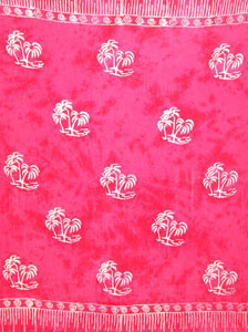 Batik Pink Sarong With Palm Trees