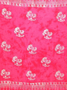 Plus Size Batik Pink Sarong With Palm Trees