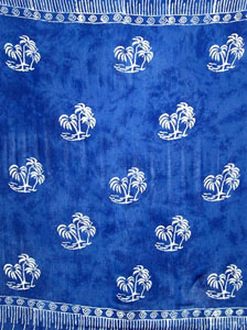 Batik Blue Sarong With Palm Trees