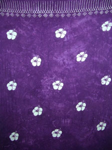 Batik Purple Sarong With Hibiscus