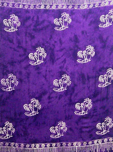 Batik Purple Sarong With Palm Trees