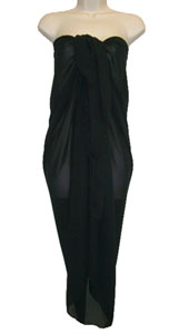 Black SHEER Full Size Sarong With Beads