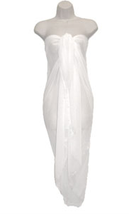 White SHEER Full Size Sarong